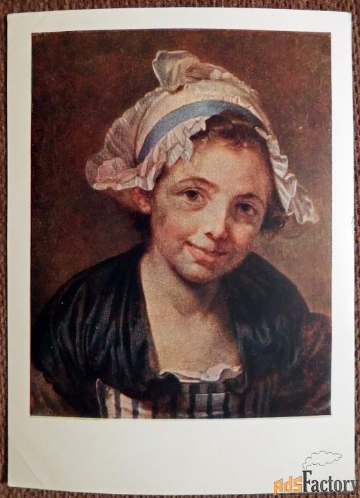 Открытка. Жан Батист Грез Голова девушки. 1958 год