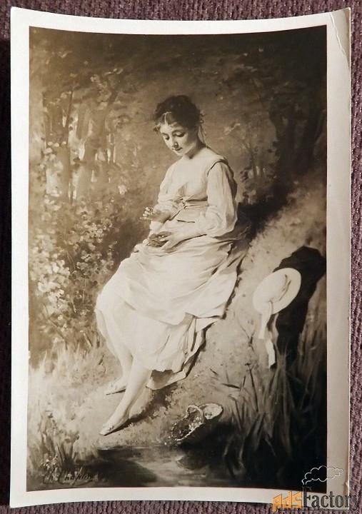 Открытка. Шамплен Девушка с гнездом. 1945 год