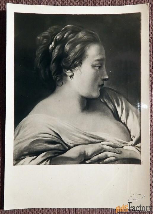 Открытка. Буше Голова девушки. 1945 год