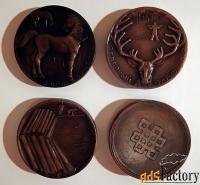 набор настольных медалей байкал в футляре. ссср