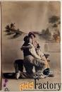антикварная открытка влюбленная парочка с котом