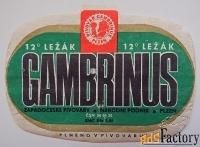 этикетка + кольеретка. пиво gambrinus. чехия