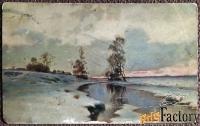 антикварная открытка. ендогуров начало весны