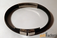 браслет резиновый. вставка металл