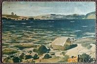 антикварная открытка. в. поленов прибой. красный крест. общ. св. евг