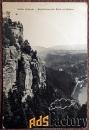 антикварная открытка «саксонская швейцария. бастай-скала» (германия)