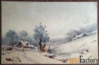 антикварная открытка. г. яковлев зима