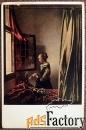 Антикварная открытка. Ян Вермеер Девушка с письмом