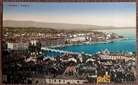 Антикварная открытка Женева. Панорамный вид (Швейцария)