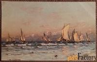 Антикварная открытка Рыбный промысел