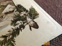 Антикварная открытка С Рождеством Христовым(тиснение)