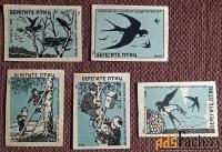Спичечные этикетки Берегите птиц. 1959 год