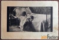 Антикварная открытка. Г. Мозлер За вечерней молитвой