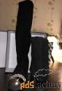 Замшевые сапоги (полусапожки) чёрные