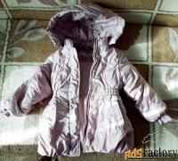 Куртка зимняя размер 28, рост 104, немного б у, на девочку, капюшон.