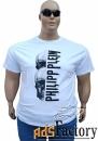 philipp plein большого размера белая мужская футболка с черепом