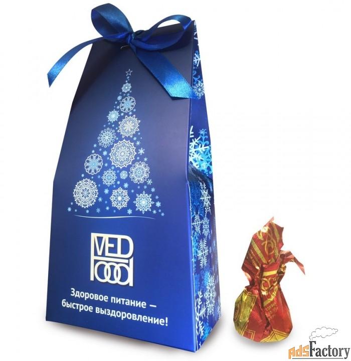 сладкие новогодние сувениры — конфеты-трюфели в упаковке «мешочек»