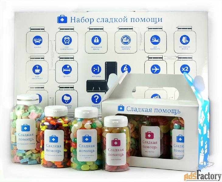 необычные конфеты с логотипом — «сладкая помощь»