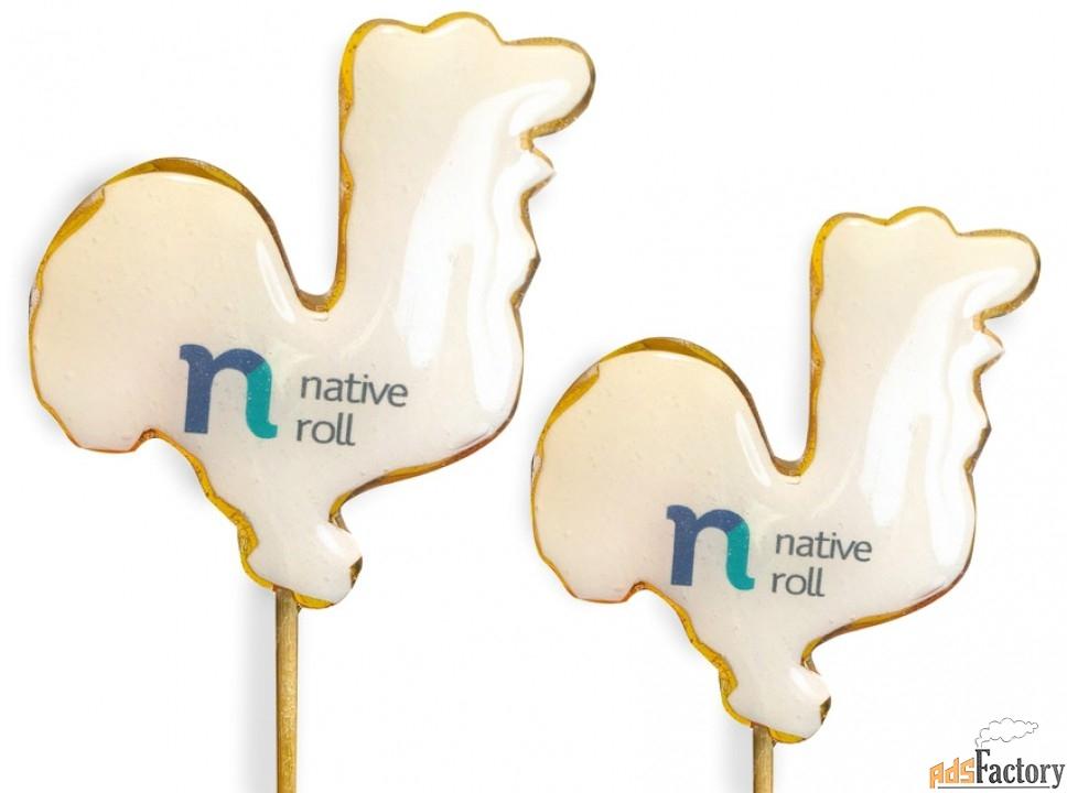 леденцы на палочке - петушки с логотипом