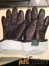 женские кожаные утепленные перчатки, размер 8,цвет черный