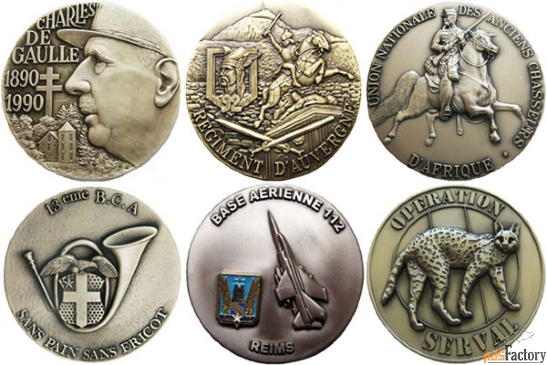 французские настольные полковые медали